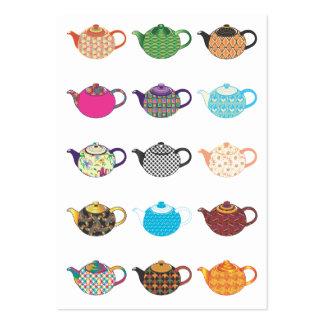 Calderas de té multicoloras tarjetas de visita grandes