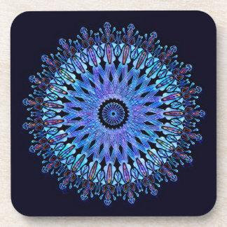 Caleidoscopio azul imponente del mosaico apoyavasos