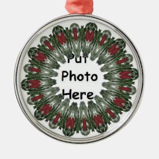 Caleidoscopio de la guirnalda del navidad adorno redondo plateado