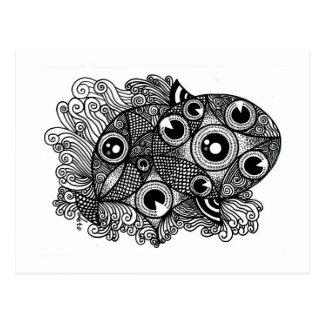 Caleidoscopio de Piscis 3D Postal