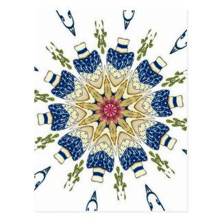 Caleidoscopio floral del florero oriental del vint tarjeta postal