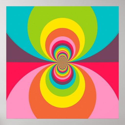 Caleidoscopio retro maravilloso del arco iris del  poster