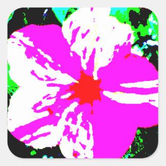 Caleidoscopio rosado y blanco 4 en punto pegatina cuadrada