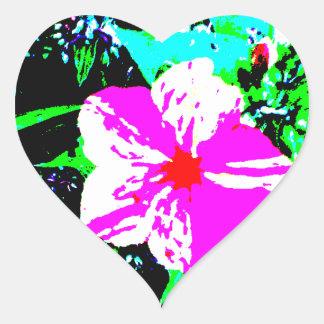 Caleidoscopio rosado y blanco 4 en punto pegatina en forma de corazón