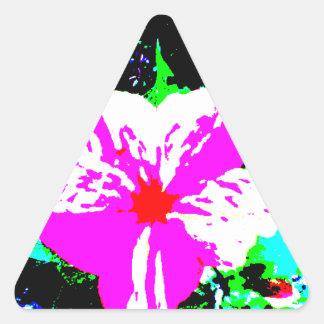 Caleidoscopio rosado y blanco 4 en punto pegatina triangular