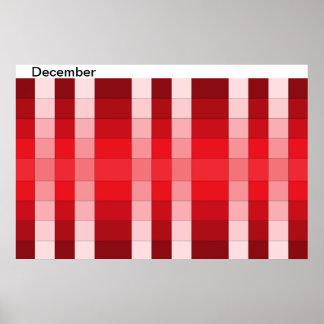 Calendario 12 de diciembre del mes del poster del