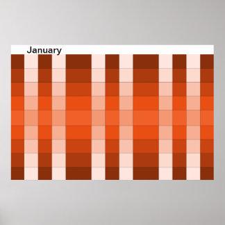 Calendario 13 de enero del mes del poster del arco