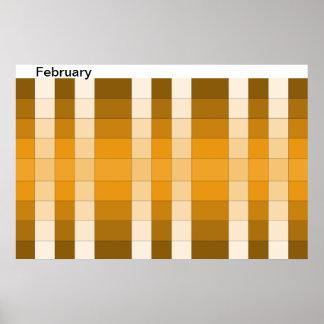 Calendario 14 de febrero del mes del poster del ar