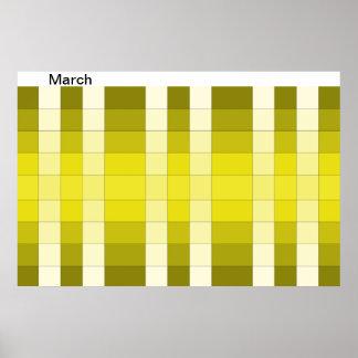 Calendario 15 de marzo del mes del poster del arco