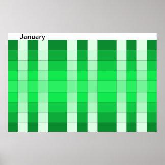 Calendario 1 de enero del mes del poster del arco