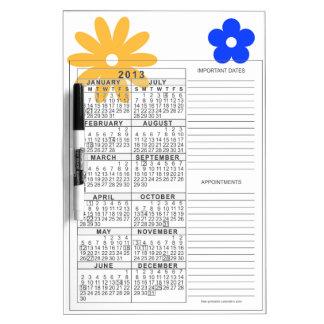 Calendario 2013 del tablero de la nota pizarras blancas