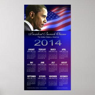 Calendario 2014 de presidente Barack Obama Excel Impresiones