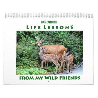 Calendario 2016 del animal de las lecciones de la