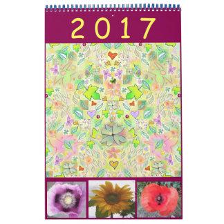 Calendario 2017 con la mezcla de arte y de fotos