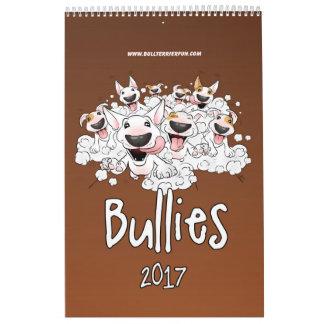 Calendario 2017 del dibujo animado de bull terrier
