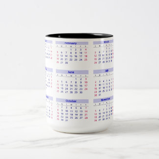 Calendario 2017 taza de café de dos colores