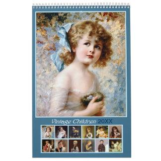 Calendario 2018 de pared de los niños del vintage