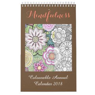 Calendario 2018 del colorante del Mindfulness