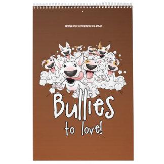 Calendario 2018 del dibujo animado de bull terrier