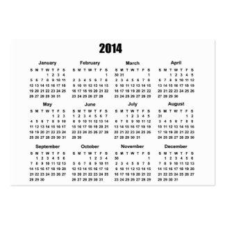 Calendario 2 de 2014 bolsillos tarjetas de visita grandes