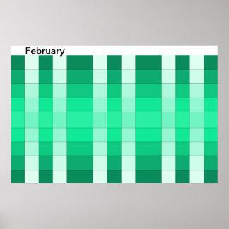 Calendario 2 de febrero del mes del poster del arc
