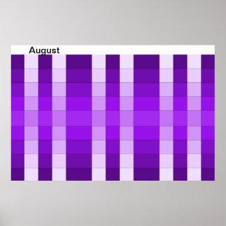 Calendario 8 de agosto del mes del poster del arco