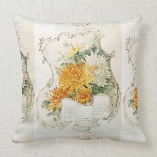 Calendario anaranjado y blanco del vintage de las cojín decorativo