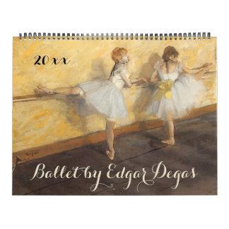 Calendario Arte del ballet del impresionismo del vintage de