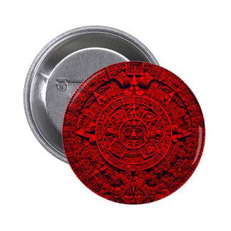 Calendario azteca - rojo chapa redonda de 5 cm