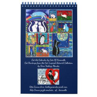 Calendario De Pared Calendario banal de las pinturas del gato por los
