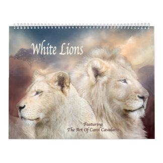 Calendario blanco del arte de los leones