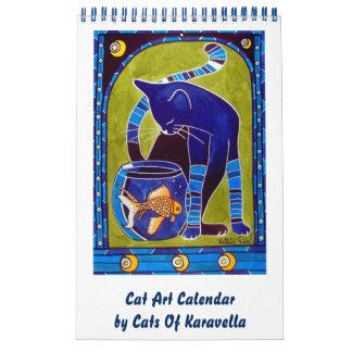 Calendario De Pared Calendario caprichoso 2018 del arte del gato para