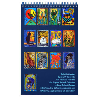 Calendario De Pared Calendario colorido 2018 de las pinturas del gato