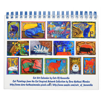 Calendario Calendario colorido 2018 del arte del gato para