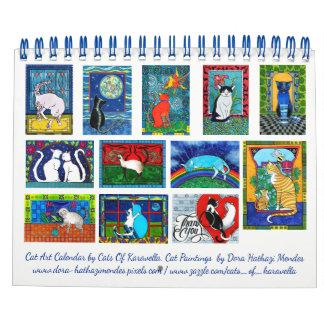 Calendario Calendario colorido del arte del gato por los
