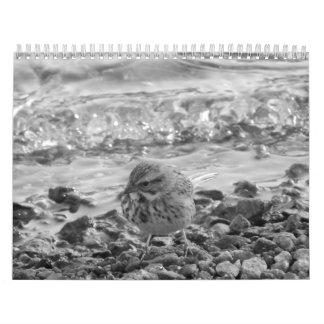 Calendario con fotos de pájaros en blanco al negro
