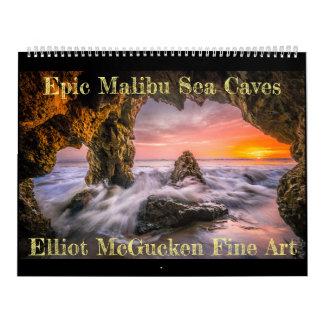 Calendario Cuevas épicas del mar de Malibu: Bella arte de