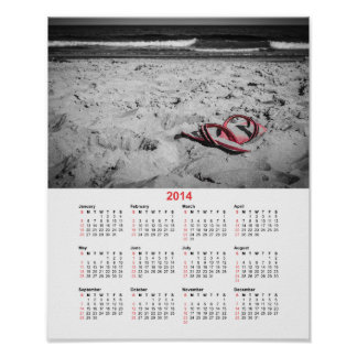 Calendario de 2014 flips-flopes de la playa impresiones
