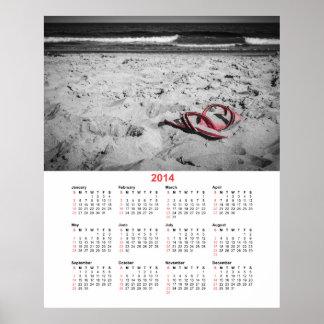 Calendario de 2014 flips-flopes de la playa póster