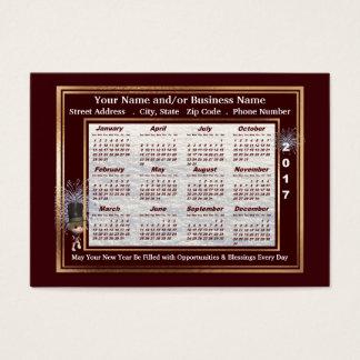 Calendario de la tarjeta de visita de 2017 saludos