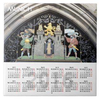 Calendario de Munich, Alemania 2016 Azulejo Cuadrado Grande