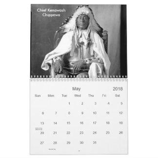 Calendario De Pared 2018, fotos del nativo americano, indios