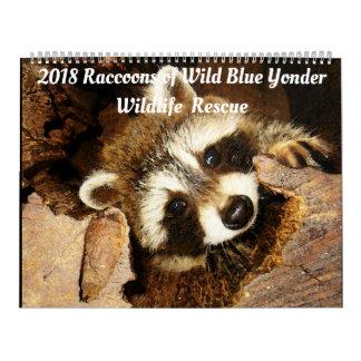 Calendario De Pared 2018 mapaches de rescate de la fauna de Wild Blue
