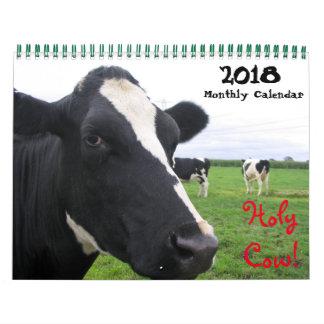Calendario De Pared 2018 vacas mensuales del ganado de las novillas