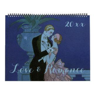 Calendario De Pared Amor y romance del ejemplo del vintage