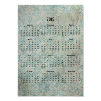 Calendario de pared apenado aguamarina del papel póster