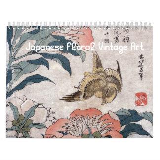 Calendario De Pared Arte floral japonés del vintage