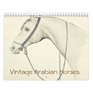 Calendario De Pared Caballos del árabe del vintage