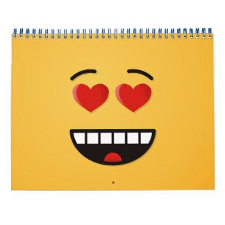 Calendario De Pared Cara sonriente con los ojos en forma de corazón