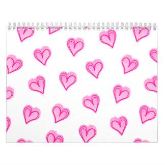 Calendario De Pared Corazones rosados